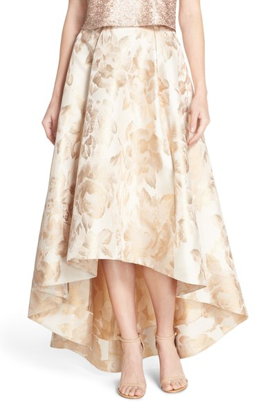 Hi-low formal skirt in gold print