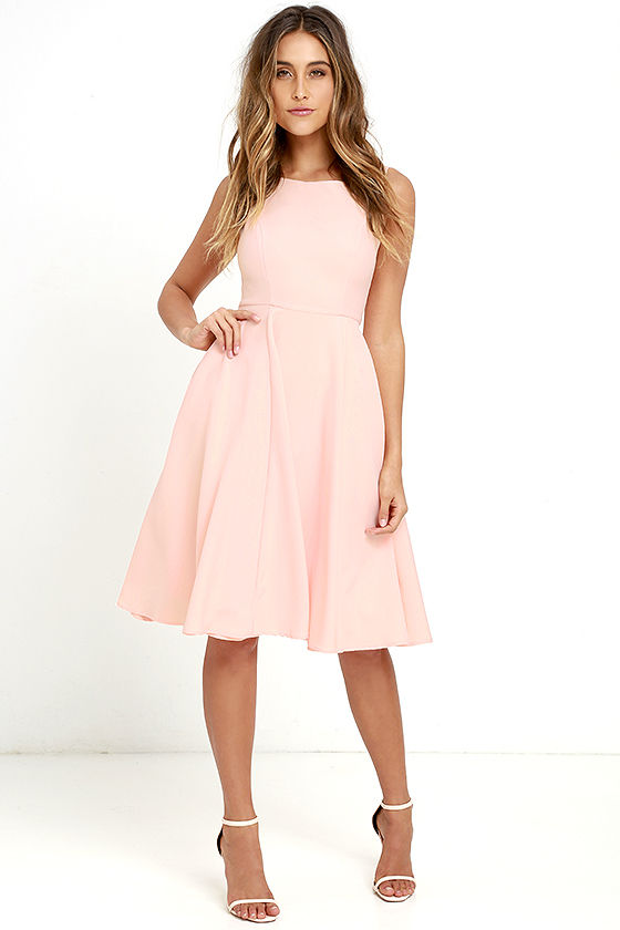 Outdoor wedding guest dress June 2016 | Peach fit and flare midi dress
