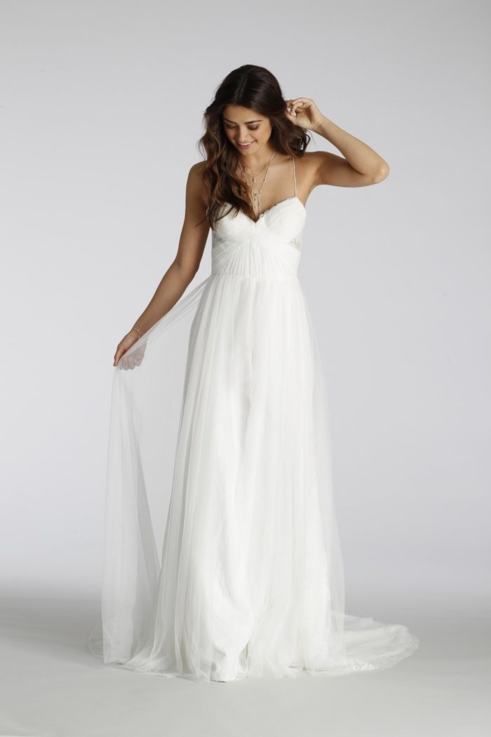 Spaghetti strap cross back wedding dress   Style 7650 Ti Adora