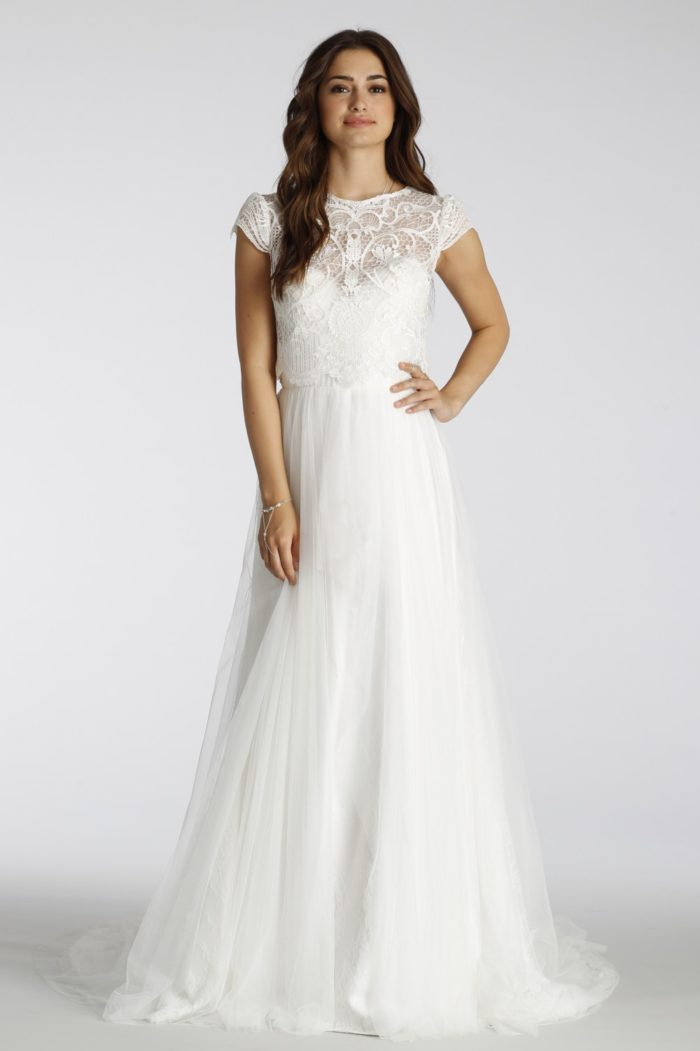 Two piece lace top wedding dress | Ti Adora Style 7650 with 650J