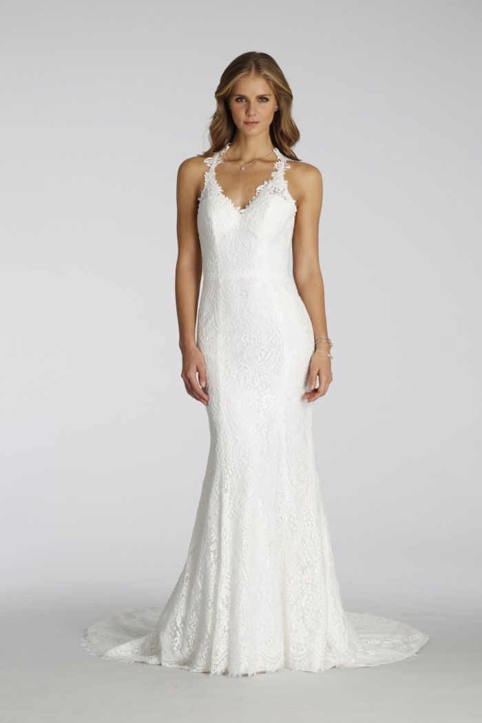 Ivory lace halter strap gown | Ti Adora style 7651