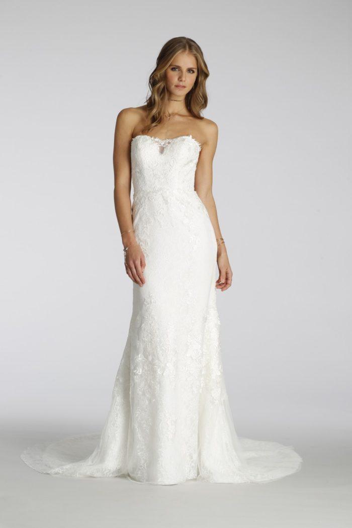 Strapless lace wedding dress   Ti Adora Wedding Dresses   Style 7653