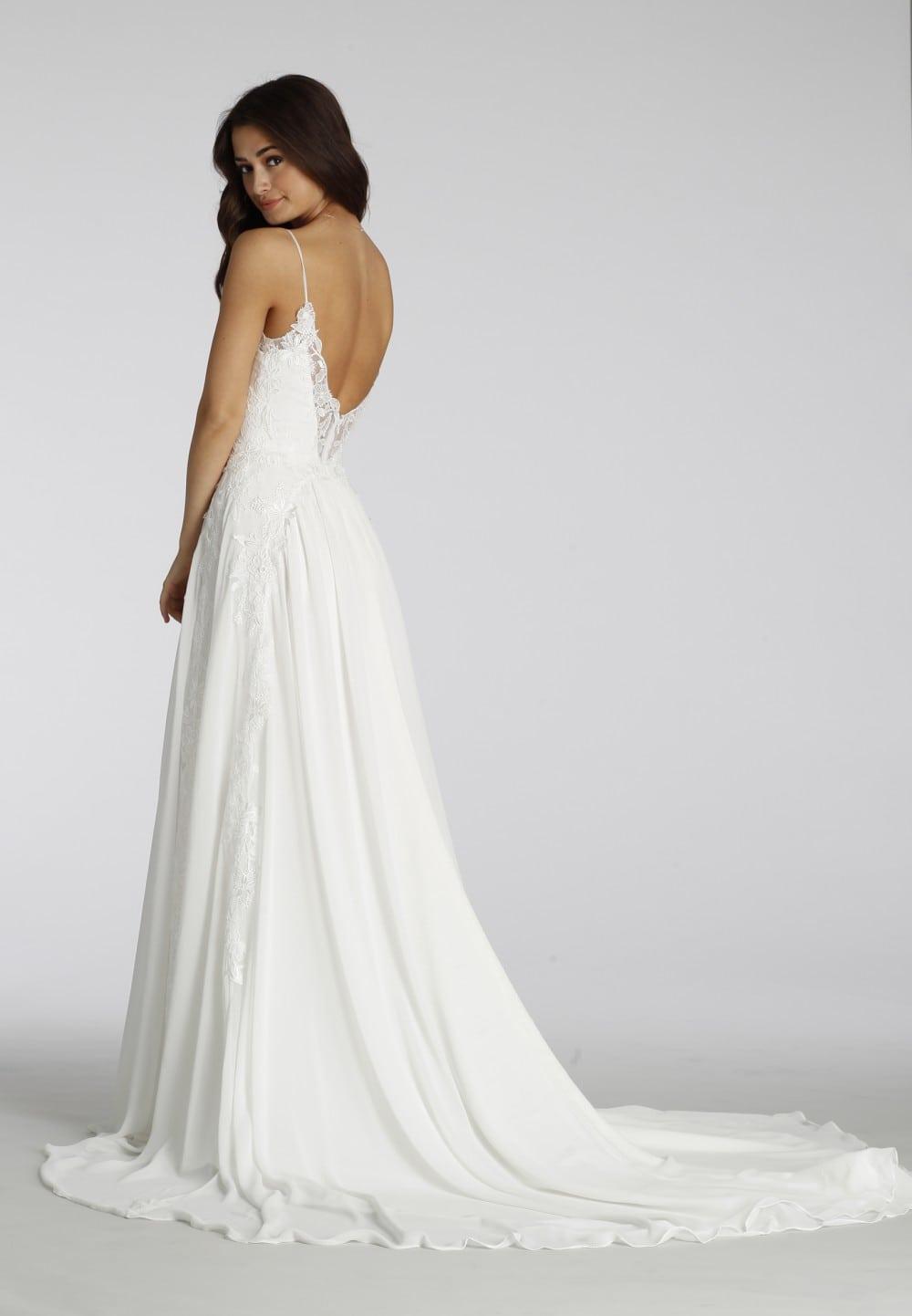 Low back wedding dress with spaghetti straps   Back detail Ti Adora Style 7654