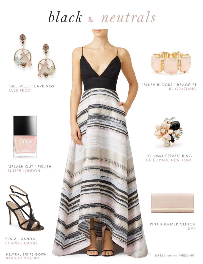 Black and Neutral Wedding Guest Outfit