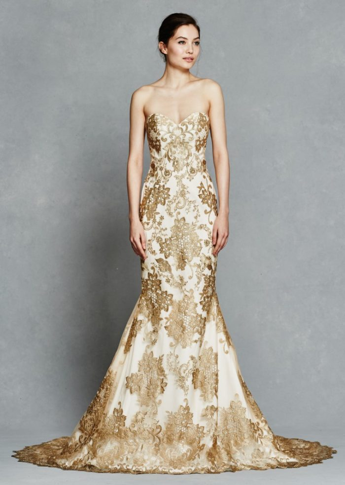 Gold lace wedding dress| Gwendelyn by Kelly Faetanini