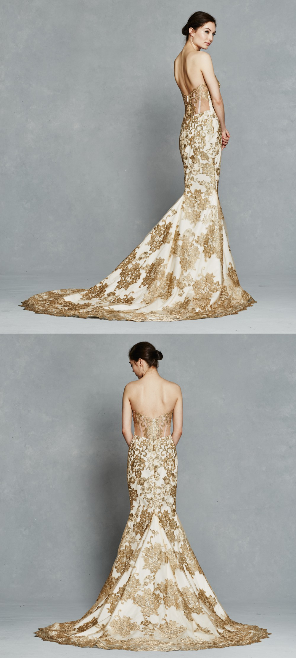 Gold lace strapless wedding dress| Gwendelyn