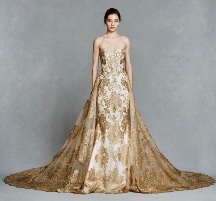Gold bridal gown with overskirt and train | Gwendelyn by Kelly Faetanini