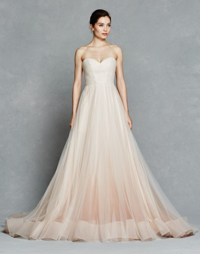Blush strapless wedding dress