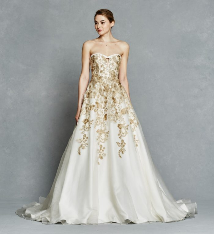 Gold strapless embellished wedding dress | Leona by Kelly Faetanini
