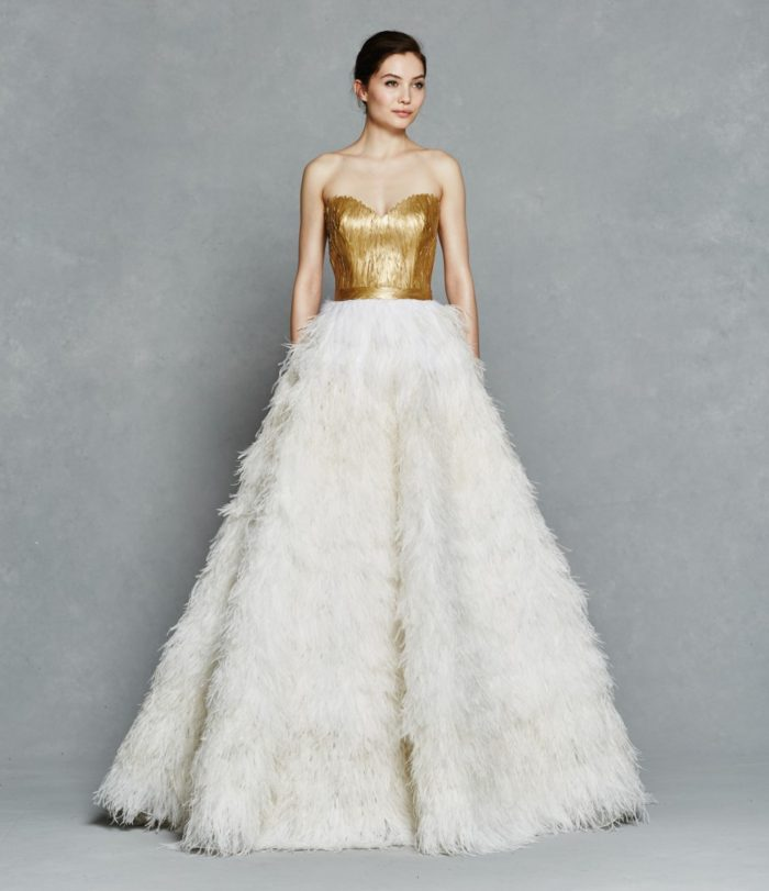 Gold and feather wedding dress | Olga by Kelly Faetanini