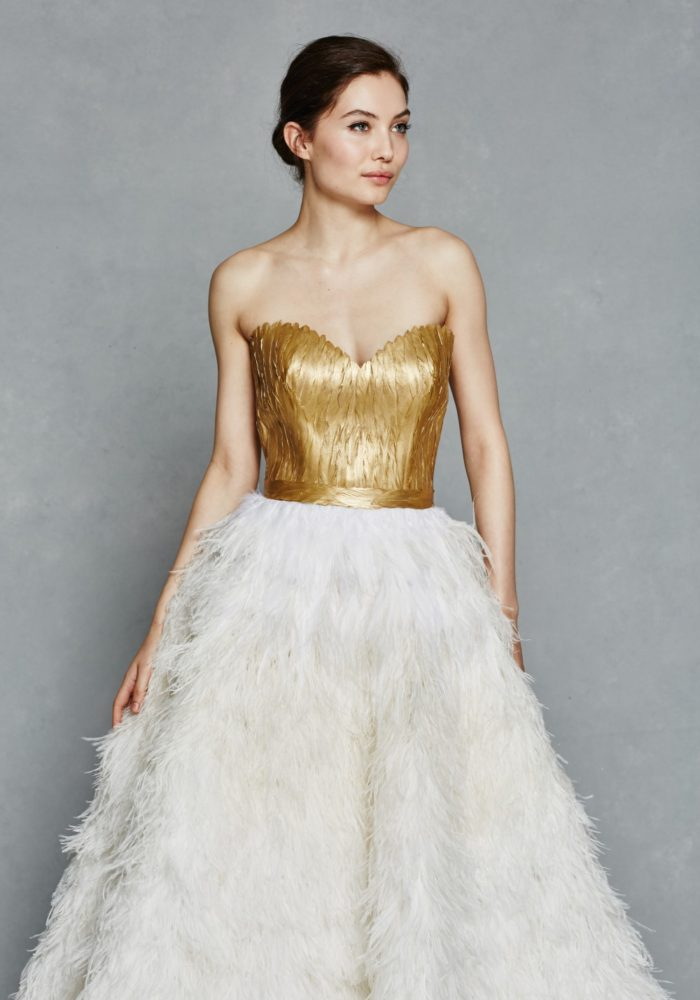 Gold bodice wedding gown with ostrich feather skirt | Kelly Faetanini