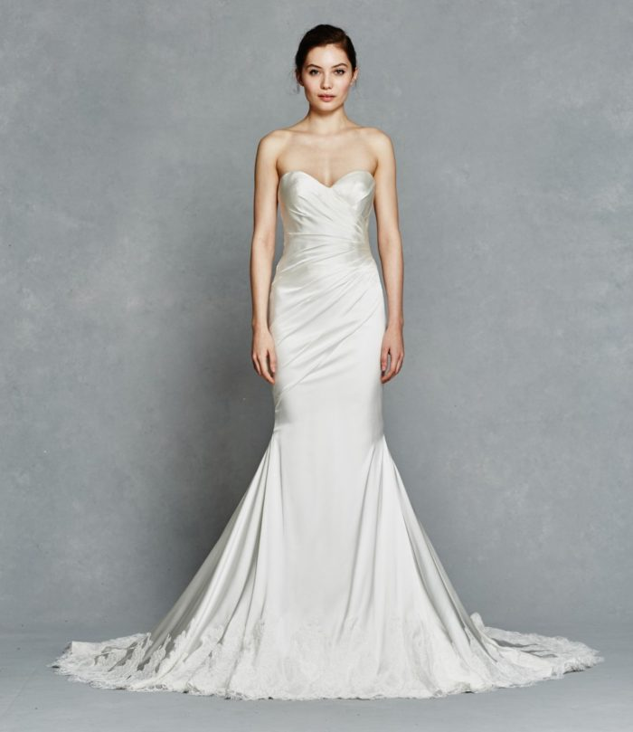 Lace hem strapless wedding dress | Inez by Kelly Faetanini