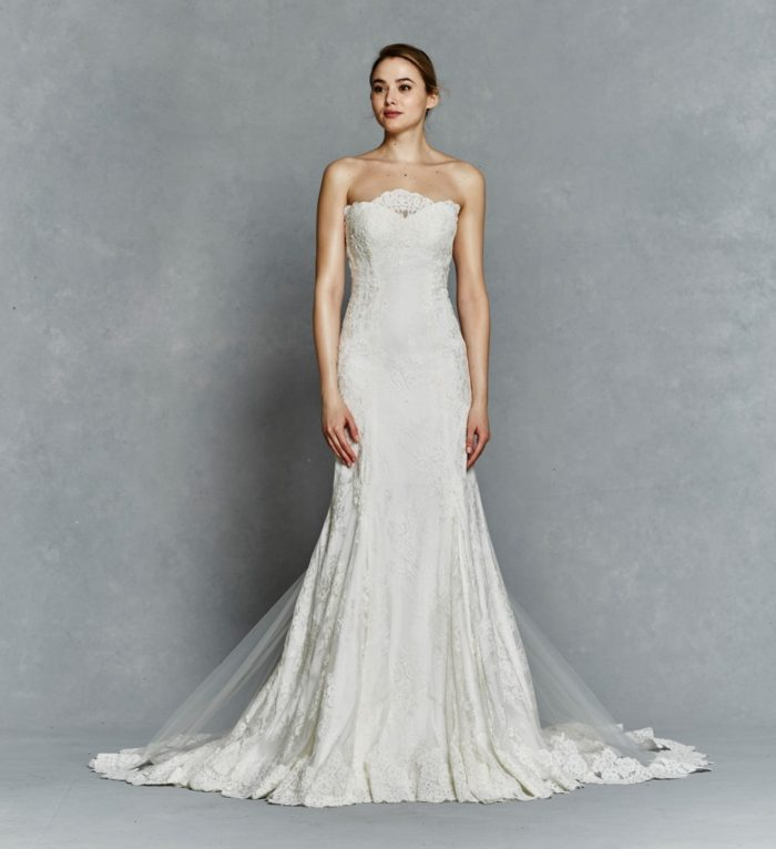 Strapless wedding dress with overlay and lace detail | Hazel by Kelly Faetanini