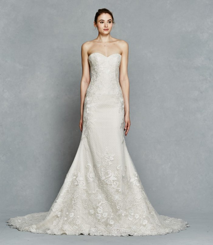 All over lace strapless wedding dress | Sibyl by Kelly Faetanini