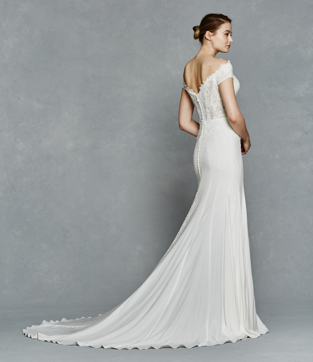 Wedding dress with lace off the shoulder detail