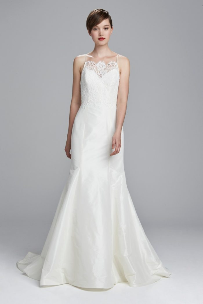 Lace neckline wedding dress with spaghetti straps