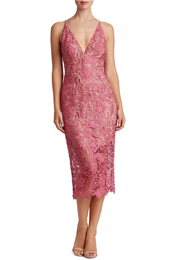 Pink Lace Cocktail Dress in Midi Length