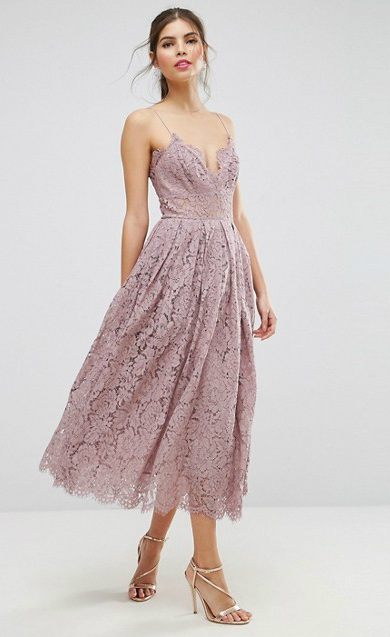 Purple Lace Midi Dress