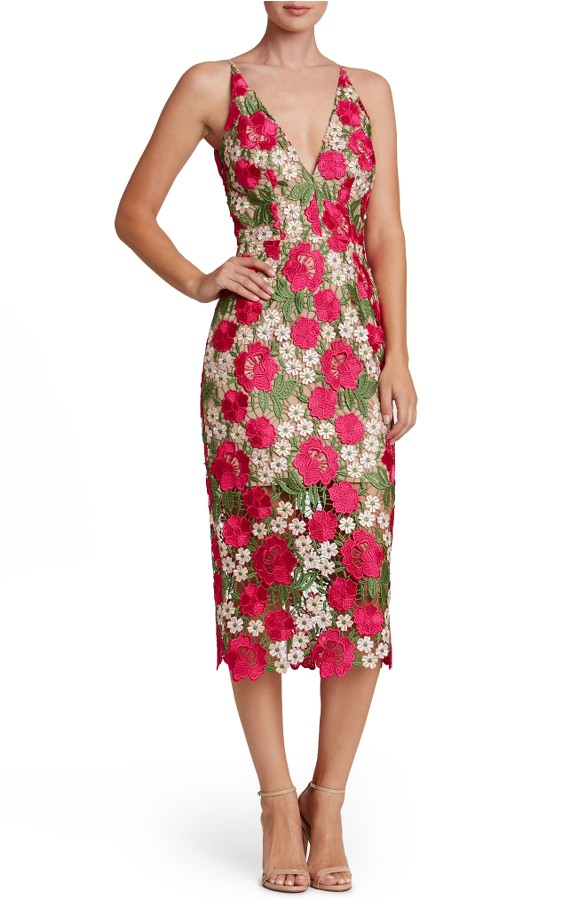 Rose Print Dress for Wedding Guest