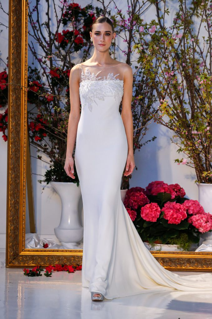 Sleek and embellished wedding dress | 'Winterberry' Anne Barge 2017
