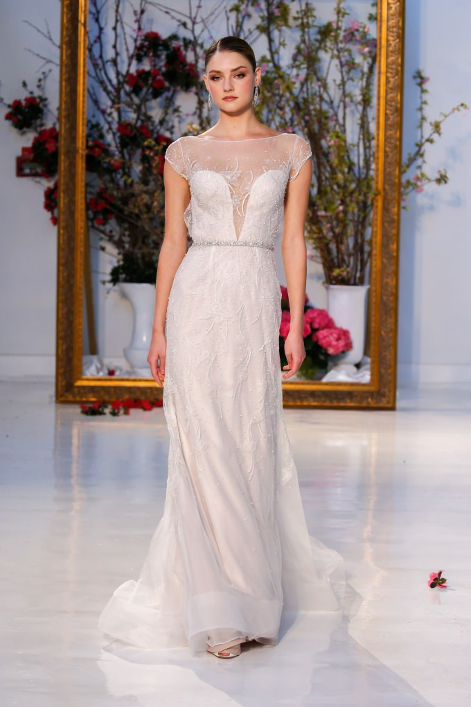 Plunge neckline wedding dress with illusion mesh overlay | Anne Barge Designer Wedding Dresses