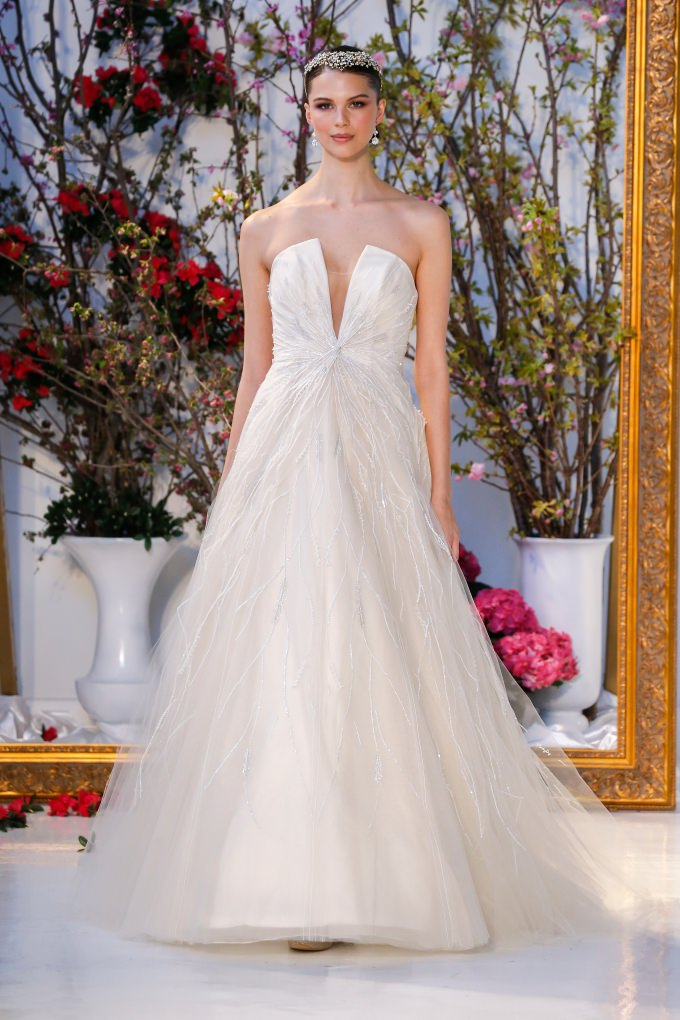 strapless plunge wedding dress | Anne Barge 2017 Bridal Collection