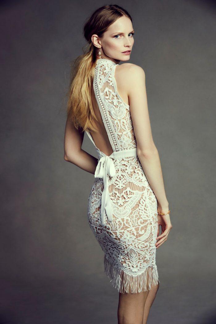 Short lace dress with keyhole back