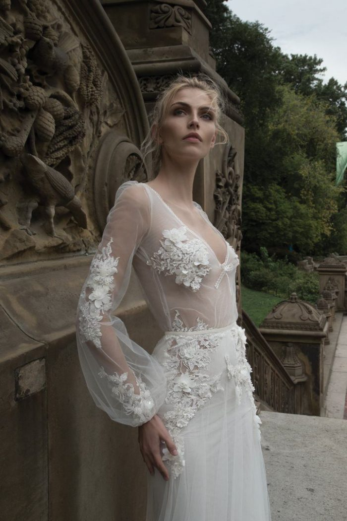 Wedding gown with sheer sleeves by Inbal Dror