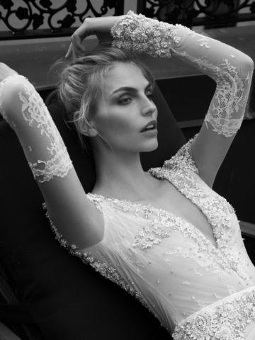 Long sleeve wedding gown by Inbal Dror