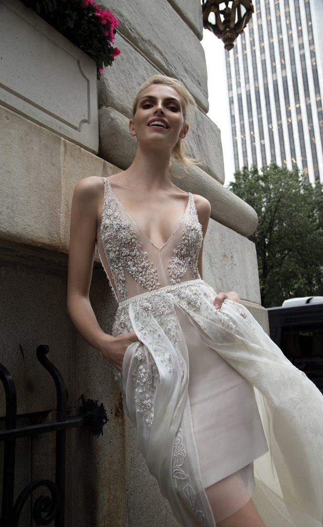 Wedding dress with overskirt by Inbal Dror