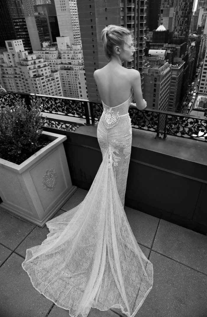 Couture wedding dress with train