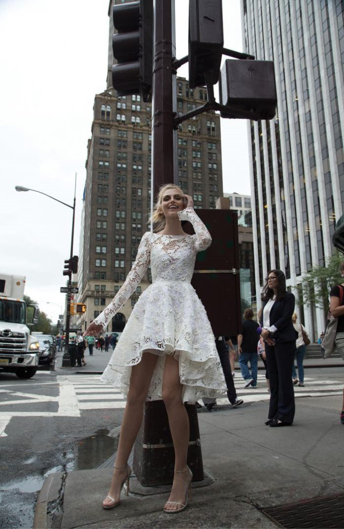 Short white lace wedding dress with long sleeves | 'New York' Collection by Inbal Dror