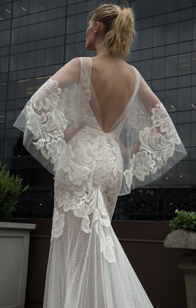 Stunning detailed overlay on Inbal Dror gown