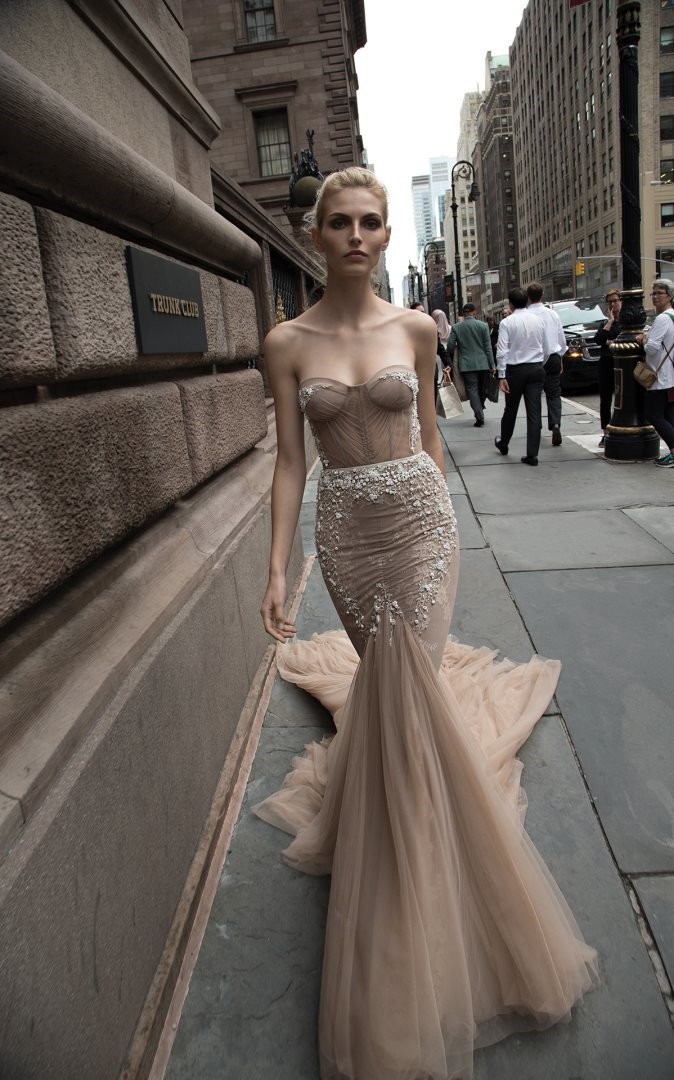 Couture strapless sheer neutral wedding dress by Inbal Dror