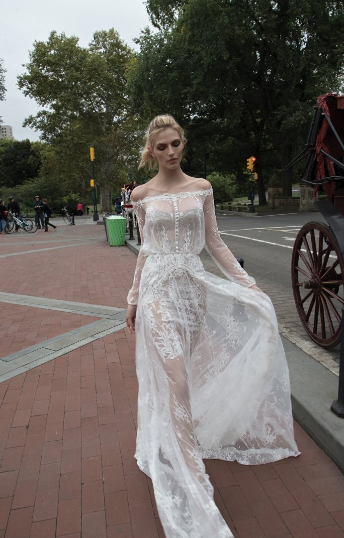 Sheer, romantic wedding dress