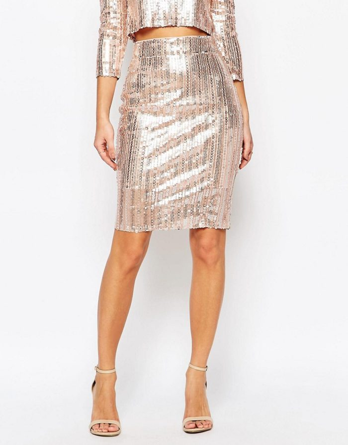 Short gold sequin skirt | ASOS
