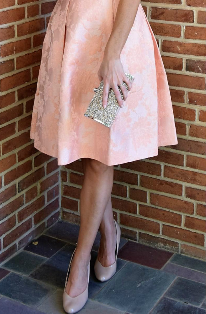 Full skirt peach dress