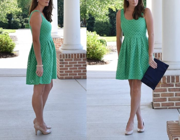 Green eyelet dress | Wearing the 'Learn the Yard Way Dress' from ModCloth in Clover