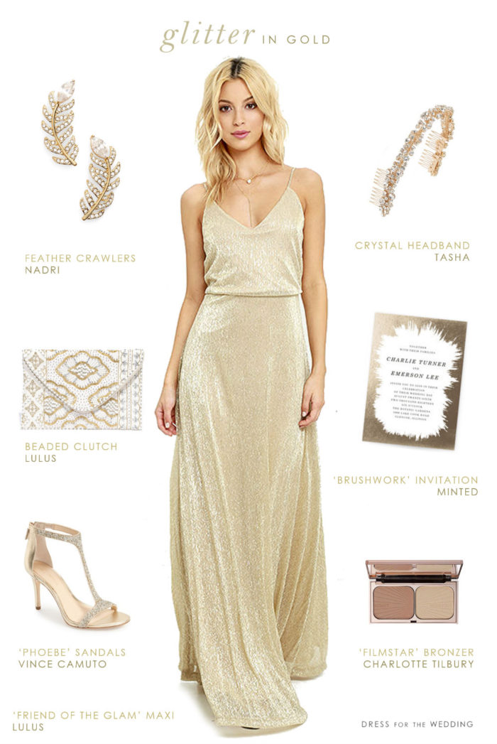 Gold maxi dress for bridesmaids or wedding guests for Maxi dress to wear to wedding