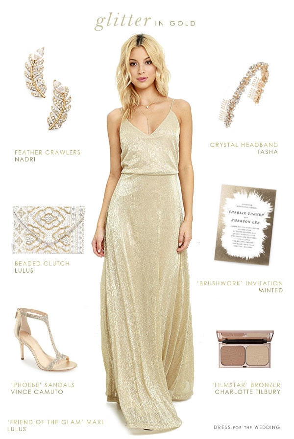 Floor length gold dress for bridesmaids