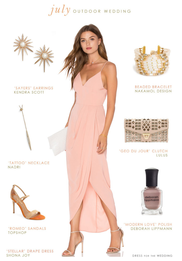 What to wear to an outdoor july wedding wedding guest for Vineyard wedding dresses for guests