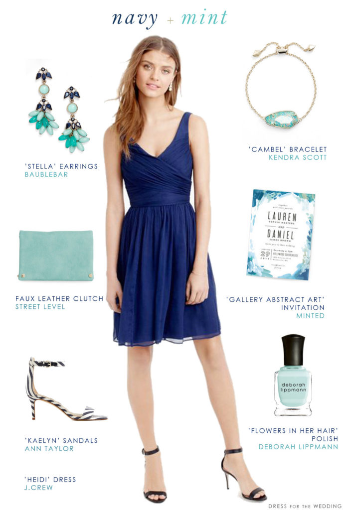 Navy Blue and Mint Green Wedding Style | Blue Bridesmaid Dresses