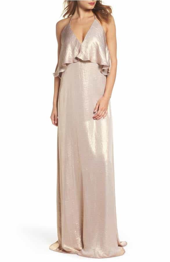 liquid gold amsale bridesmaid dress
