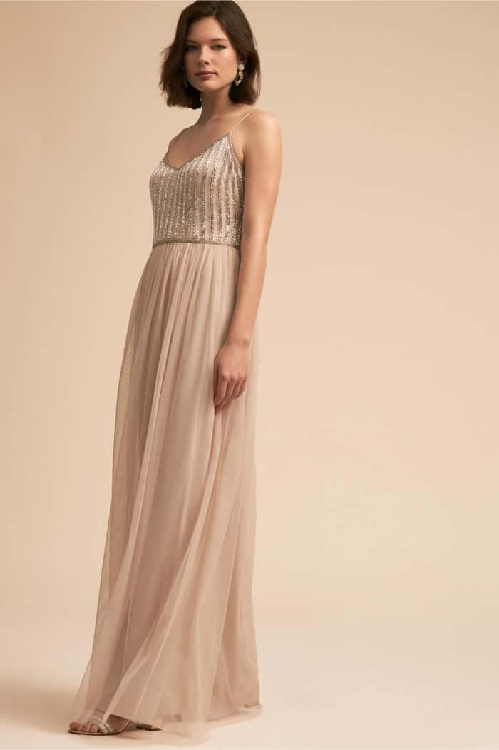 gold beaded top long bridesmaid dress