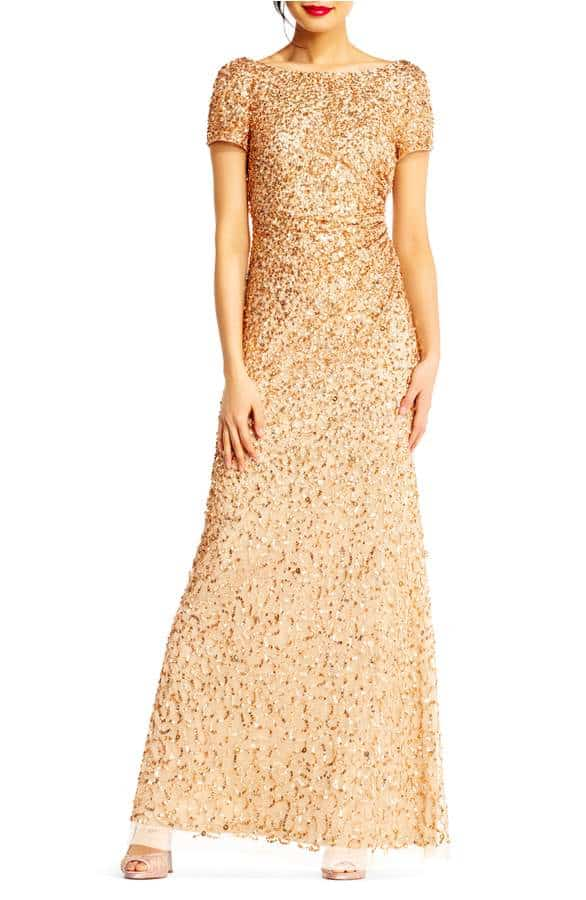 gold sequin bridesmaid dress with short sleeves