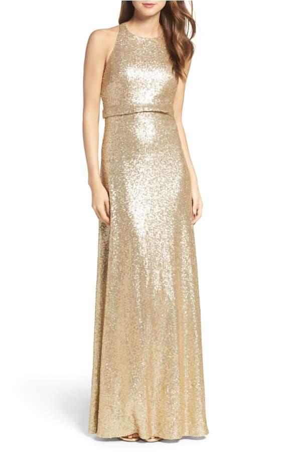 gold sequin jenny yoo bridesmaid dress