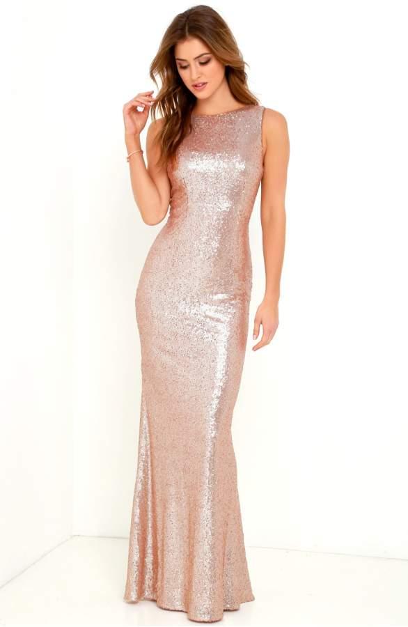 long gold bridesmaid dress