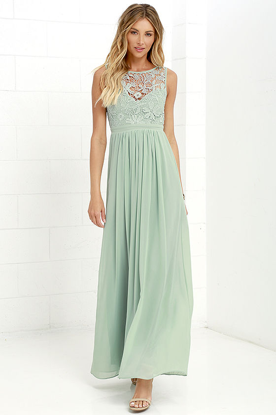 sage green lace gown