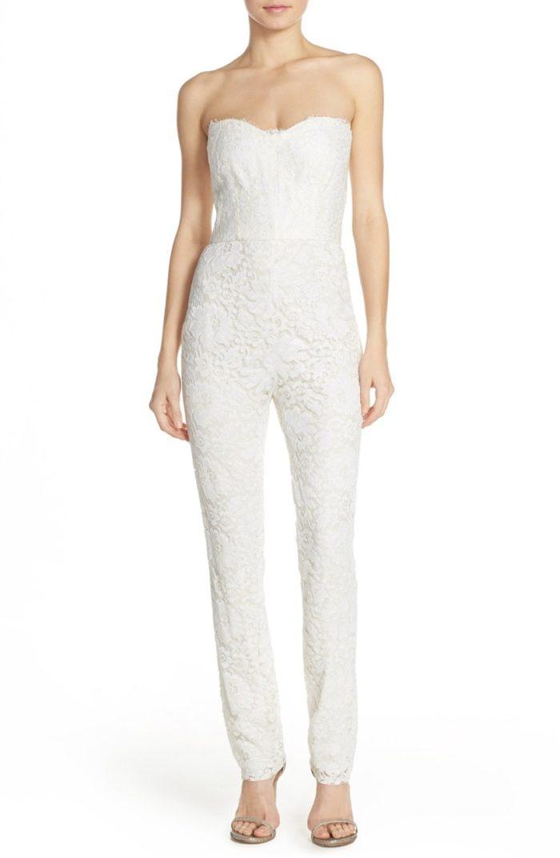 Strapless Lace Bridal Jumpsuit