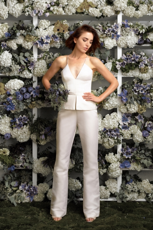 White two piece modern bridal pants and top